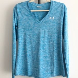 Under Armour Blue Space Dye V-Neck Long Sleeve Top